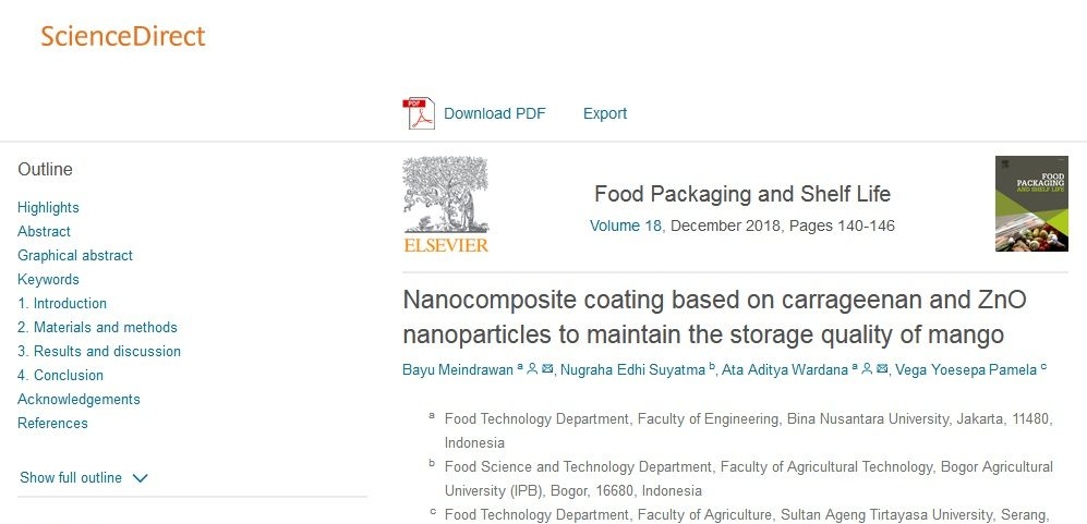 Bayu's and Ata's paper @ Food Packaging and Shelf Life