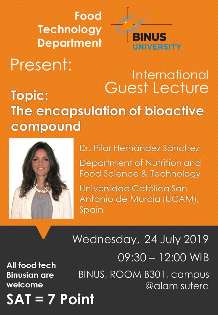 """Guest Lecture 2019: Pilar Hernandez Sanchez on """"The Encapsulation of Bioactive Compound"""""""