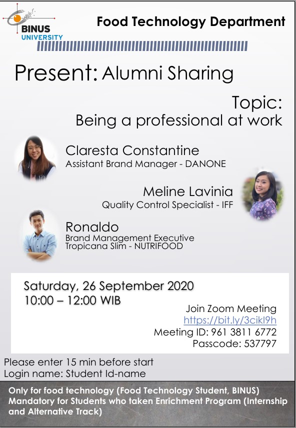 "Alumni Sharing ""Being A Professional at Work"" - Food Technology BINUS University"